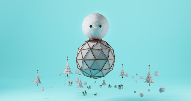 3d rendering of christmas. giant snowman floating on blue background. surrounded by christmas trees and gift boxes, abstract minimal concept, luxury minimalist