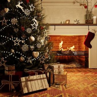 3dレンダリング。クリスマスツリーとその下にプレゼントと夜のクリスマスのリビングルームパーティー