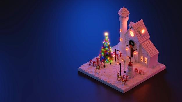 3d 렌더링 크리스마스 또는 새 해 장면 아이소메트릭입니다.