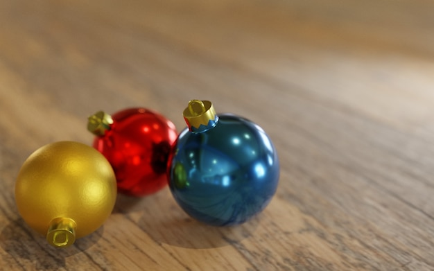 3d 렌더링, 크리스마스 장식품 나무 테이블에 공