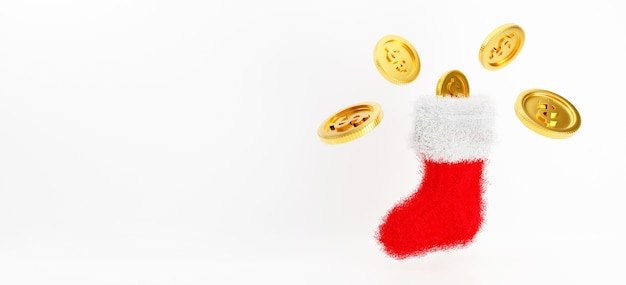 3d rendering of christmas sock hanging on wall with gold coins.