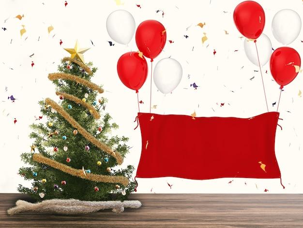 3d 렌더링 크리스마스 트리와 빈 배너