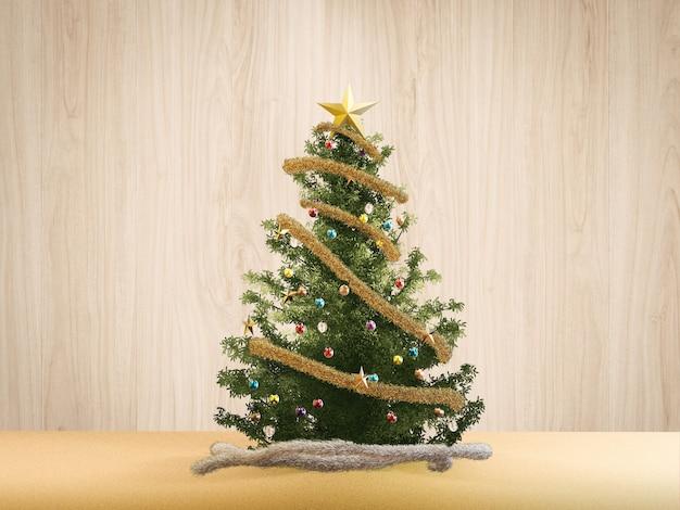 3d 렌더링 크리스마스 트리와 크리스마스 장식품