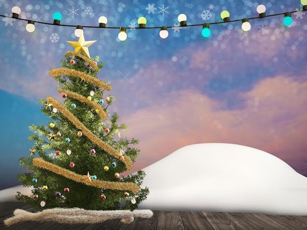 3d рендеринг елки украсить украшениями и веревочными огнями