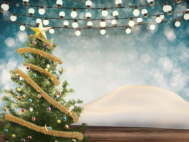 3d 렌더링 크리스마스 트리 장식 및 로프 조명으로 장식
