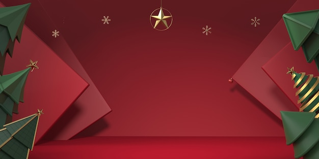 3d rendering christmas tree with red background