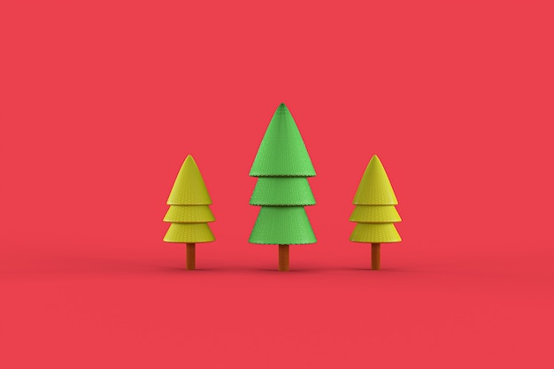 3d rendering of christmas trees
