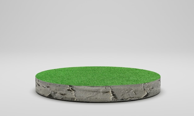 3d rendering. circle cutaway grass field. cement podium with green lawn isolated on white background.