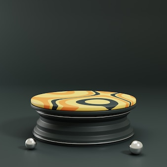 3d rendering circle pedestal with yellow ornament and black background