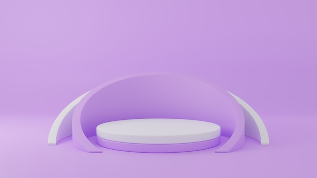 3d rendering of circle podium for advertising product display