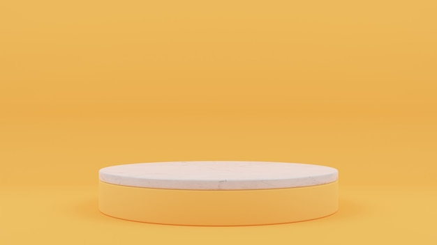 3d rendering of circle podium with marble on top