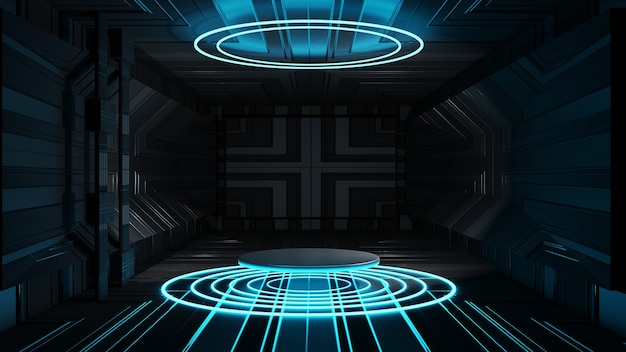 3d rendering circle stage abstract black background interior design empty stage presentation