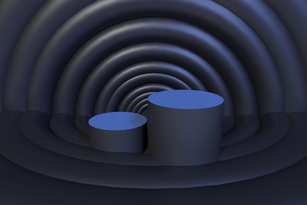 3d rendering circles background and black podium