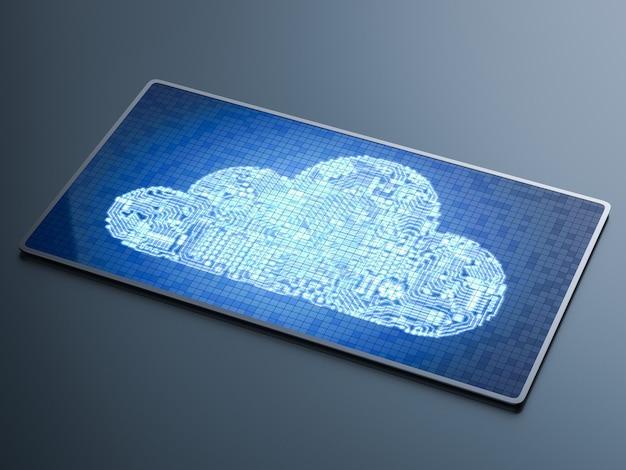 Облако схемы 3d-рендеринга на планшете для технологии облачных вычислений