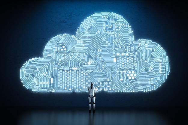 휴머노이드 로봇이 있는 3d 렌더링 회로 구름