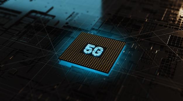 3d 렌더링 회로 Cpu 칩셋 5g 개념 프리미엄 사진
