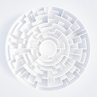 3d rendering circular maze in top view on white background.