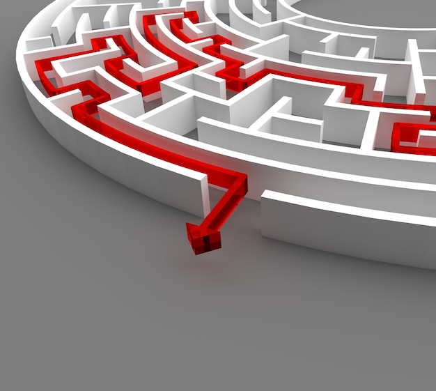 3d rendering circular maze with solution.