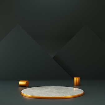3d rendering cirlce pedestal with gold accent and black triangle background