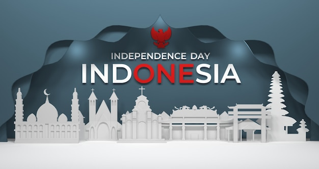 3d rendering of city building and proper worship of religious communities in indonesia. Premium Photo