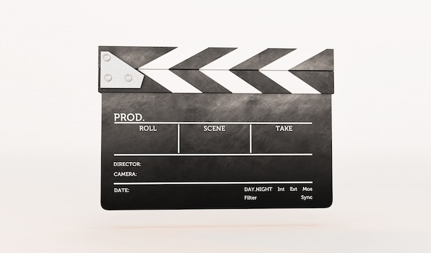 3d rendering of clapperboard on white background.
