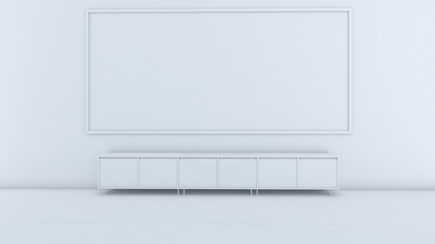 3d rendering of class room interior design, cabinet in front of the room, mockup on white screen