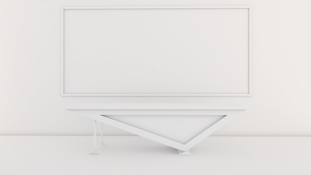 3d rendering of class room interior design, desk in front of the room, mockup on white screen