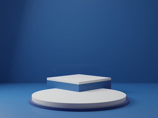 3d rendering of classic blue pedestal podium on clearly background, abstract  minimal podium blank space for beauty cosmetic product