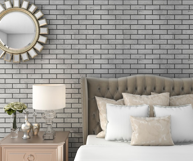3d rendering classic luxury bedroom with pouf and mirror and brick wall