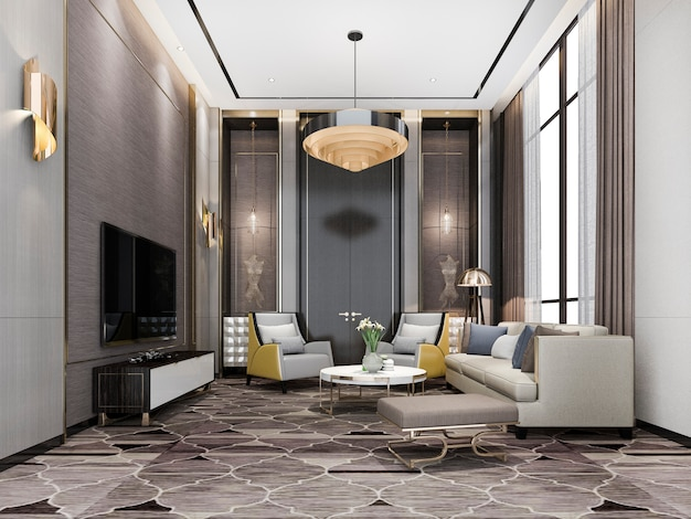 3d rendering classic luxury living room lobby lounge with chandelier and decor