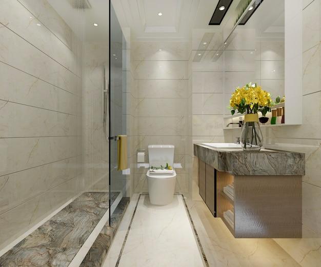 豪華なタイル装飾が施された3 dレンダリングクラシックモダンなバスルーム