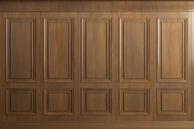 3d rendering. classic wall of vintage oak wood panels. joinery in the interior. background.
