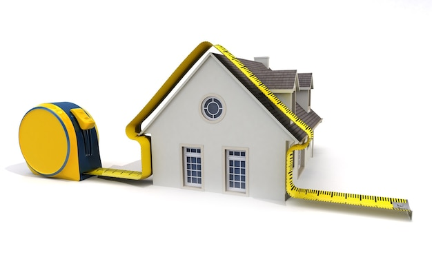 3d rendering of a classical house with a tape measure around
