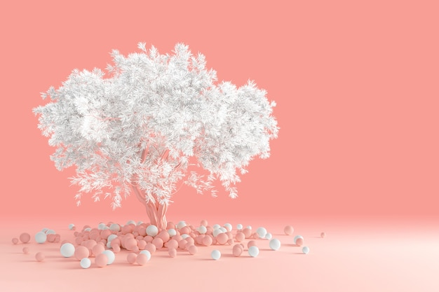 3d rendering of clean minimal design of a coniferous fluffy tree with a white crown isolated on a light pink coral table with scattered multicolored balls near the trunk.