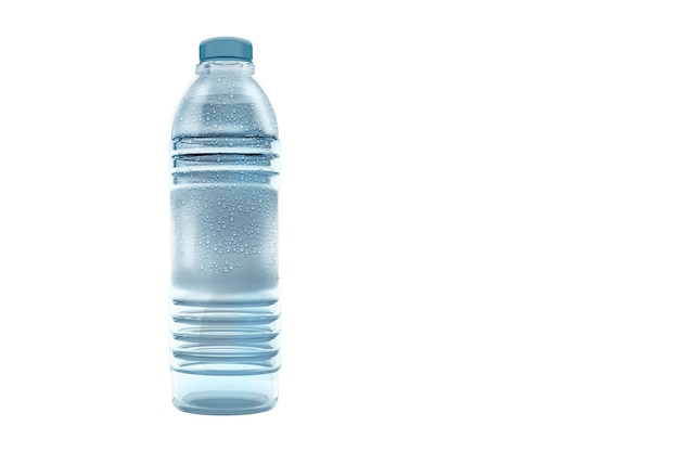 3d rendering of clear water with pet water bottle isolated on white