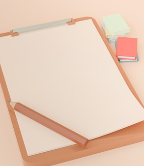 3d rendering, clipboard with blank paper and pencil, template for note and checklist reports, back to school concept