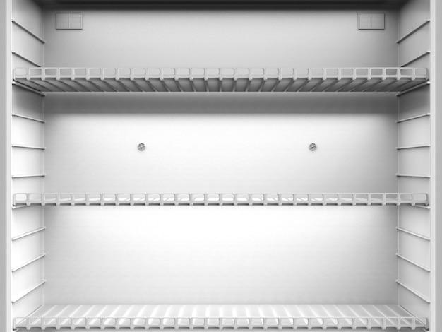 3d 렌더링은 냉장고의 빈 선반을 닫습니다.