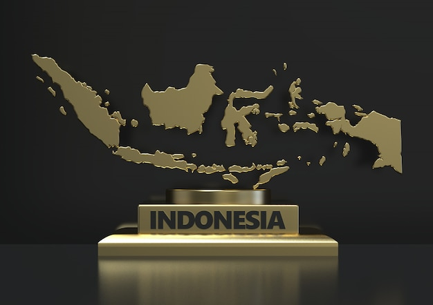 3d rendering close up indonesian gold map standing isolated on dark background