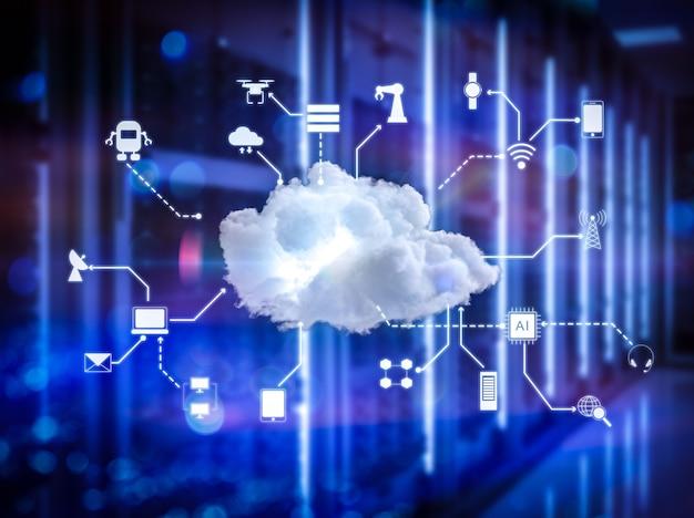 3d рендеринг технологии облачных вычислений в серверной комнате