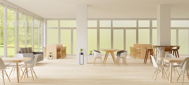 3d rendering, co-working space, empty place, white wall and wooden floor