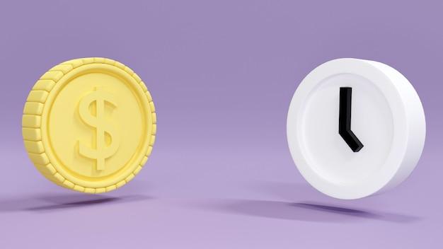 時間とお金の管理の黄色のテーマの概念でコインと時計をレンダリングする3d