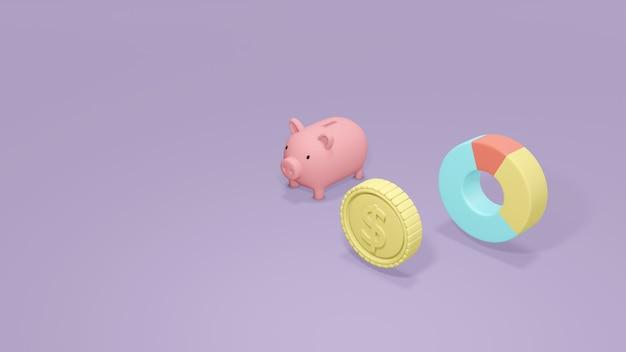 3d 렌더링 동전 돼지 저금통 및 돈 투자 관리 재무 계획의 파이 차트 개념