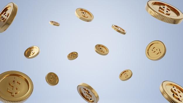 3d 렌더링입니다. 금화. 저축 또는 돈, 은행 투자의 개념입니다.