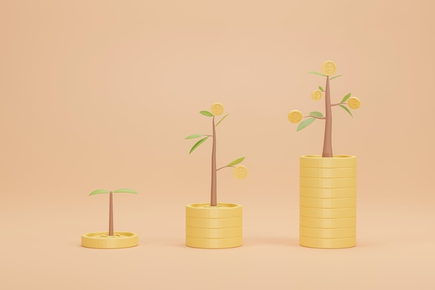 3d rendering. coins stack growth graph with tree. concept of business investment bank.