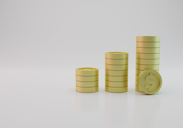 3d rendering of a collection of dollar coins