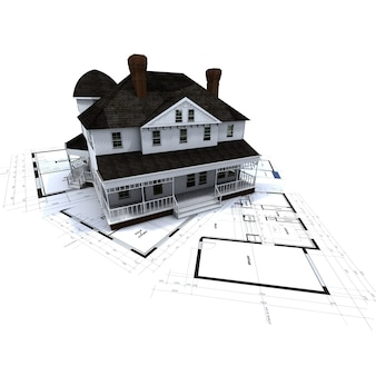 3d rendering of a colonial style residence on top of blueprints