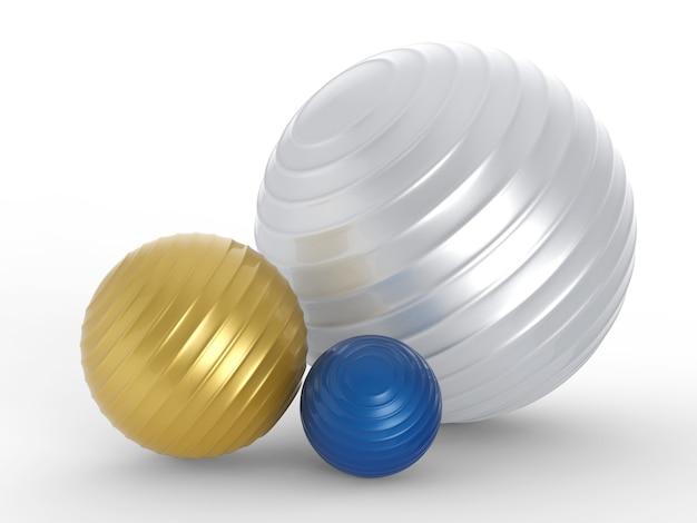 3d-рендеринг красочных мячей для фитнеса различного размера