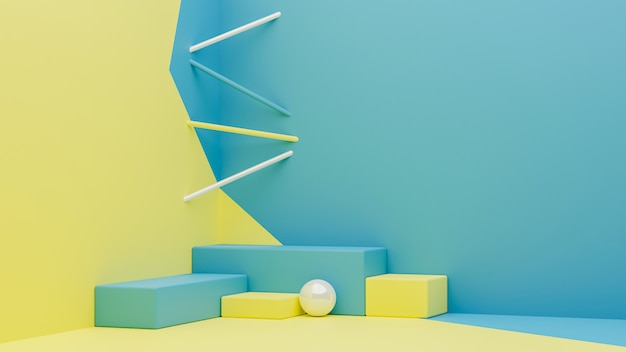 3d rendering of colorful geometric podium and modern wallpaper