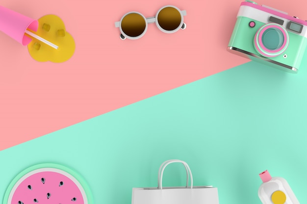 3d rendering of colorful minimal cute summer traveler gadget