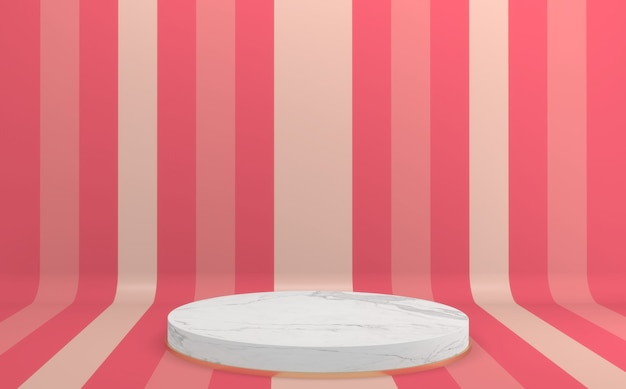 3d-рендеринг красочный розовый подиум макет минимальный дизайн.